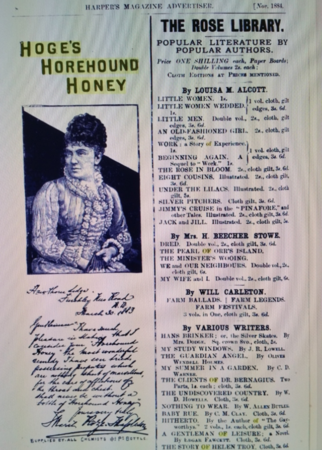 This is a copy of another ad by my great, great grandfather in the November, 1884 issue of Harper's Magazine