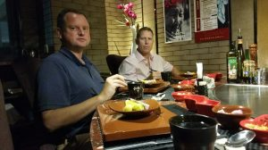 John and Ryan chowing down in the Japanese Teppanyaki restaurant.